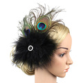 2016 Exotic Peacock Feather Fascinator Hairclip for Women Cocktail Black Headwear Rhinestone Hair Jewelry Hairpin Accessories