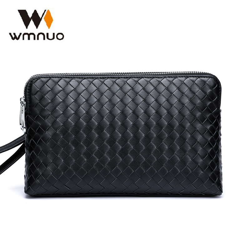 Wmnuo Brand Men Clutch Wallets Pures Men Handbags Genuine Leather Sheepskin Hand Woven Fashion Business Envelope Bag Phone BagWmnuo Brand Men Clutch Wallets Pures Men Handbags Genuine Leather Sheepskin Hand Woven Fashion Business Envelope Bag Phone Bag
