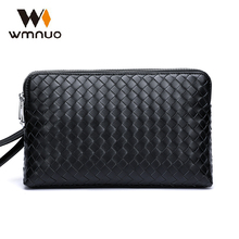 купить Wmnuo Brand Men Clutch Wallets Pures Men Handbags Genuine Leather Sheepskin Hand Woven Fashion Business Envelope Bag Phone Bag по цене 1946.88 рублей
