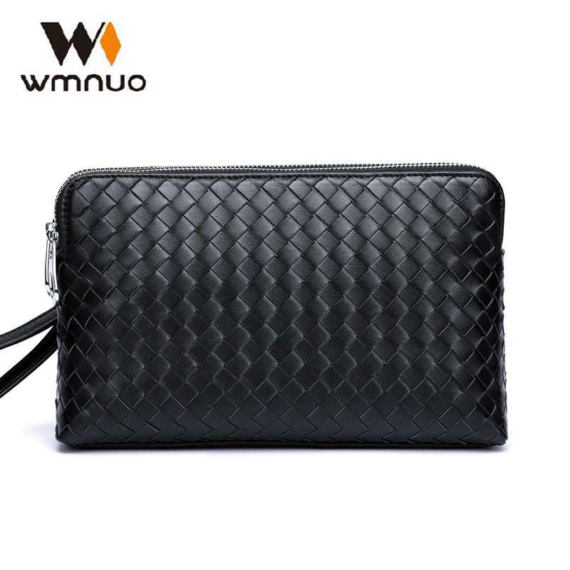 Wmnuo Marke Männer Brieftaschen Kupplung Pures Männer Handtaschen Aus Echtem Leder Schaffell Hand Woven Mode-Business Umschlag Tasche Telefon Tasche