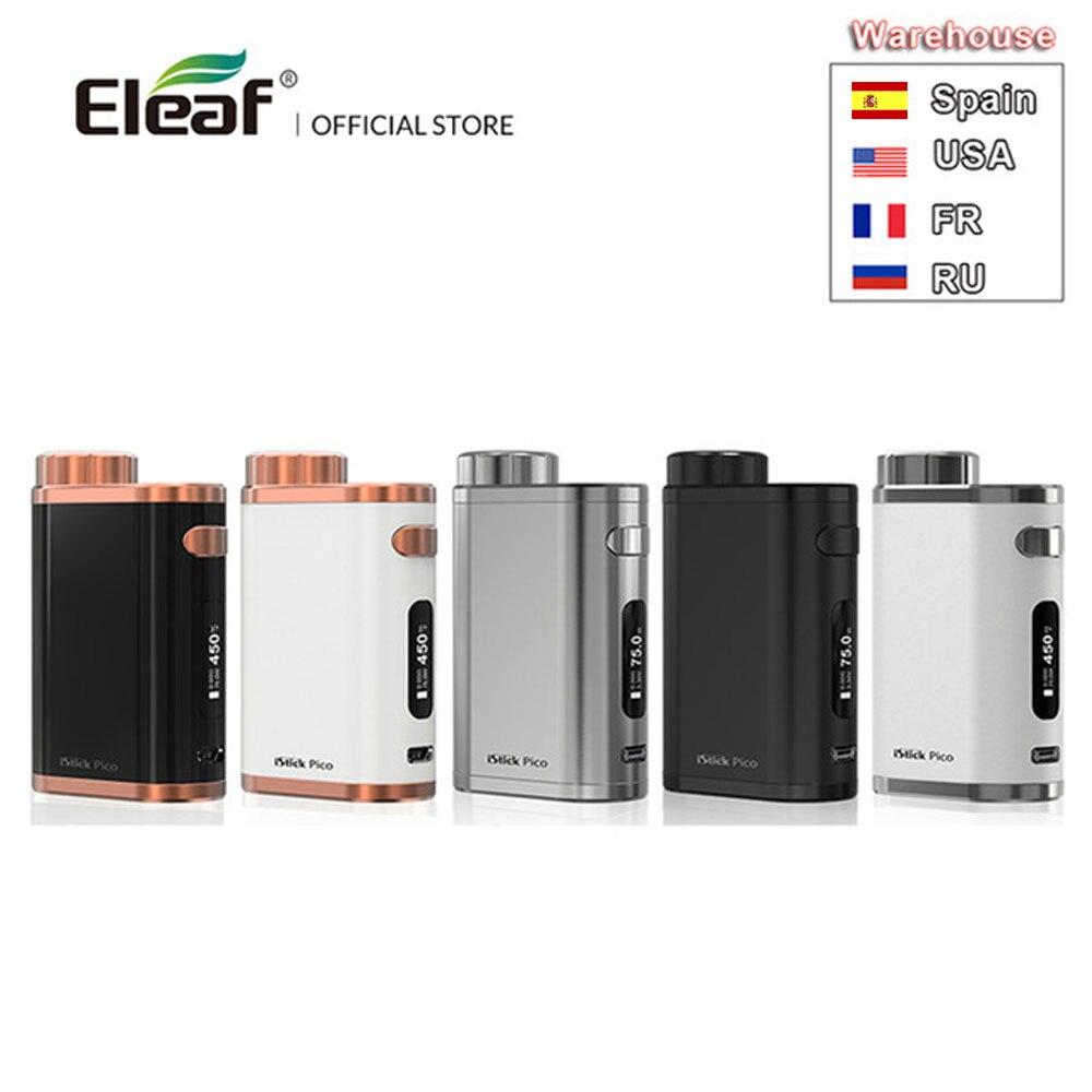 RU/EUA/ES/FR Armazém Original Eleaf iStick Pico 75w Saída 510 Fio Mod Caixa Mod cigarro eletrônico vape mod
