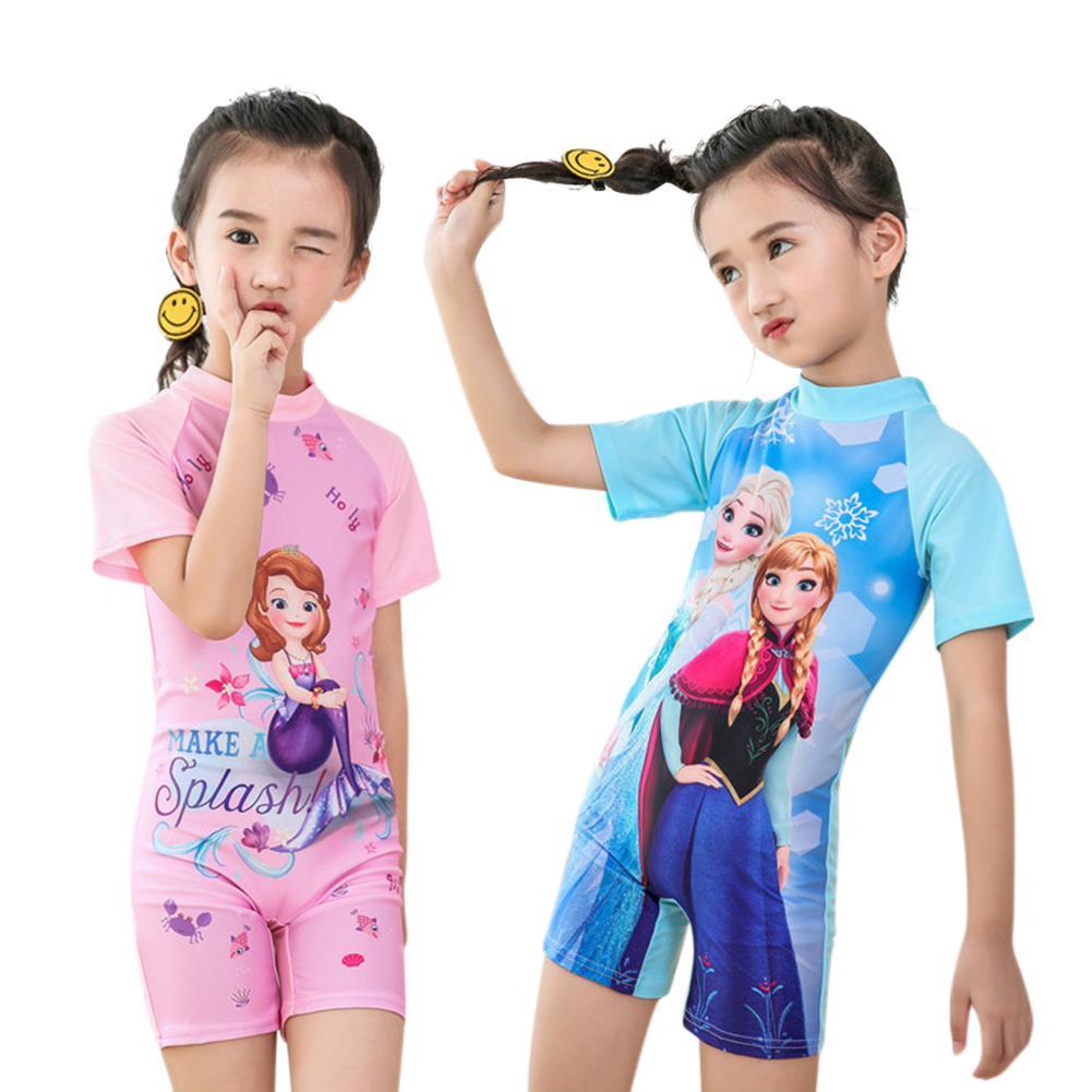 Impressão dos desenhos animados menina crianças maiô de uma peça terno de natação do bebê manga curta muçulmano maiô biquíni 2019 verão fatos de banho