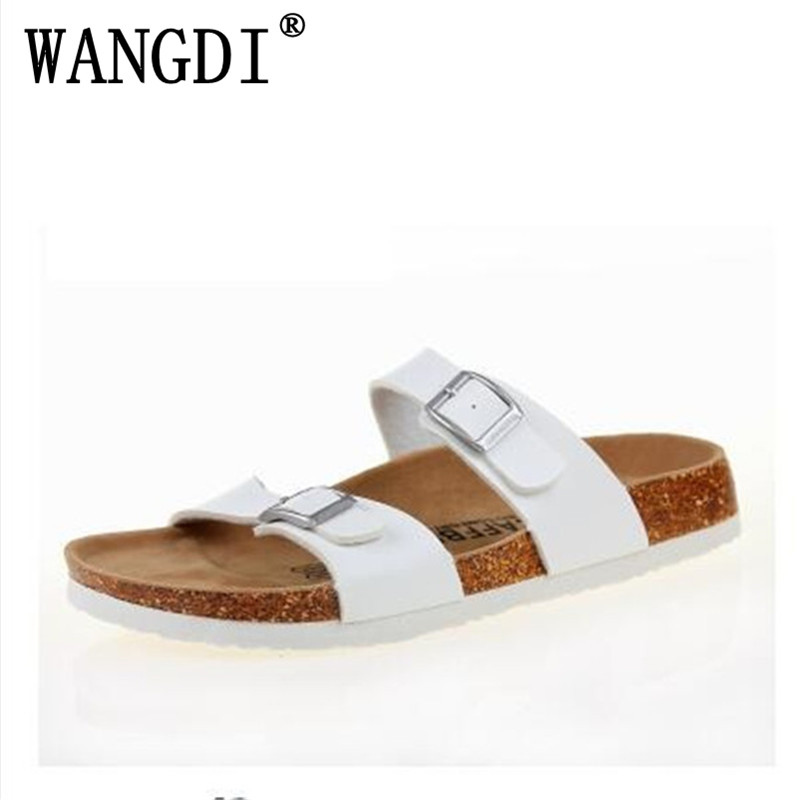 New 2017 Summer style Women Sandals Cork Slippers Casual Outdoor Shoes Flats Buckle Fashion Beach Shoes Slides Plus Size 35-43 fashion women slippers flip flops summer beach cork shoes slides girls flats sandals casual shoes mixed colors plus size 35 43