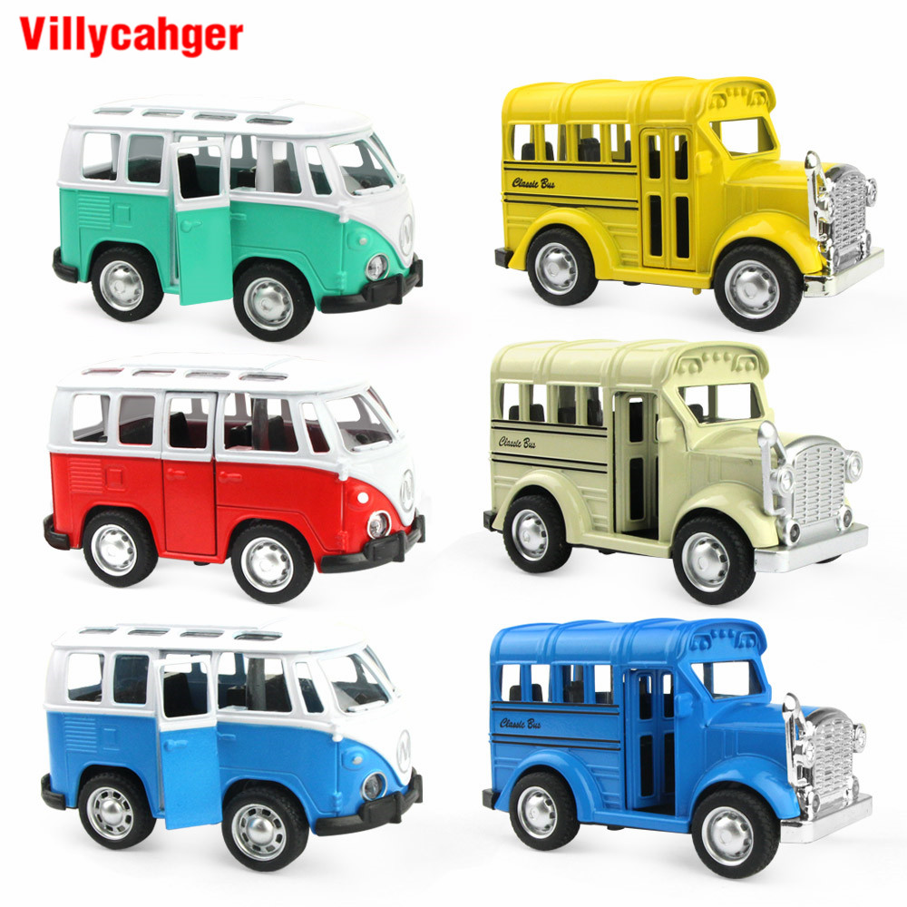 1 Pcs 1:36 Car Toy Alloy Pull Back Diecast Model Toy Car Bus School Bus Vehicle Toys For Boys Children Birthday Christmas Gift