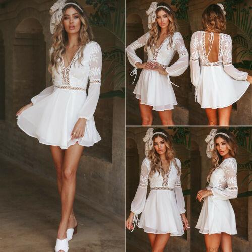 2019 Women Autumn Casual High Waist  Backless Prom Evening Party Club Wear Lace Short Mini Dress