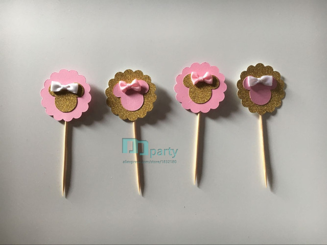 6pcs Pink Gold Minnie Mouse Cupcake Toppers Bow Minnie Mouse
