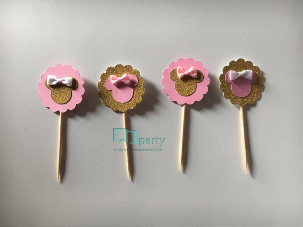 e64f6db71 Detail Feedback Questions about 6pcs pink gold minnie mouse cupcake ...