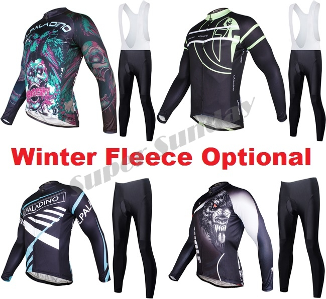 Long Cycling Jerseys Bike Racing Clothings Long Sleeve Sports Bicycle Jersey  Winter Fleece Optional Riding Suits Free Shipping