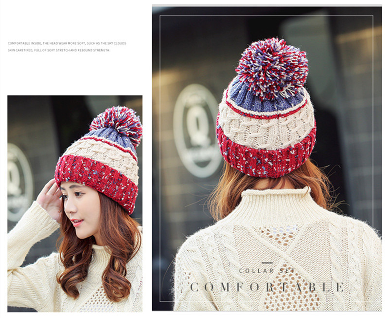 198ec04a7 ... Winter Dot Fashion Pom Poms Knit Beanies Women's Hats For Women Ladies  Beanie Girls Skullies Caps ...