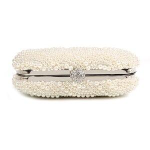 Image 3 - פרל מצמד שקיות נשים ארנק גבירותיי לבן יד שקיות ערב שקיות עבור מסיבת חתונה שחור כתף תיק Bolsa Feminina