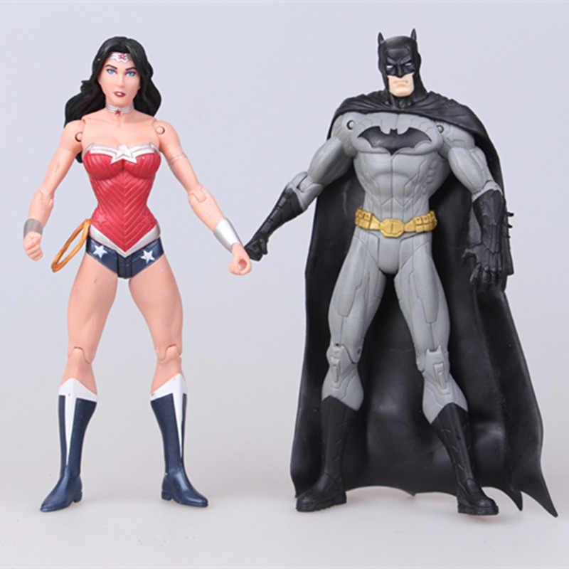 Anime 17 cm Superheroes Batman Superman Mulher Maravilha Lanterna Verde o Flash Aquaman Victor Stone Ação PVC Figuras Brinquedos Modelo Boneca