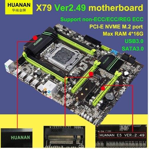 X79 motherboard HUANAN golden V2.49 LGA2011 ATX USB3.0 SATA3 PCI-E NVME M.2 SSD support REG ECC memory and Xeon E5 processor