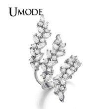 UMODE Регулируемые кольца 4X2 мм 0.1ct маркиза огранки кубического циркония белого золота Цвет кольцо ювелирные изделия для Для женщин Anillos UR0318