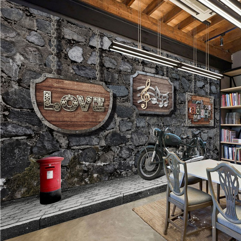 Custom 3d mural Internet cafes 3D Vintage Motorcycle car wood brick