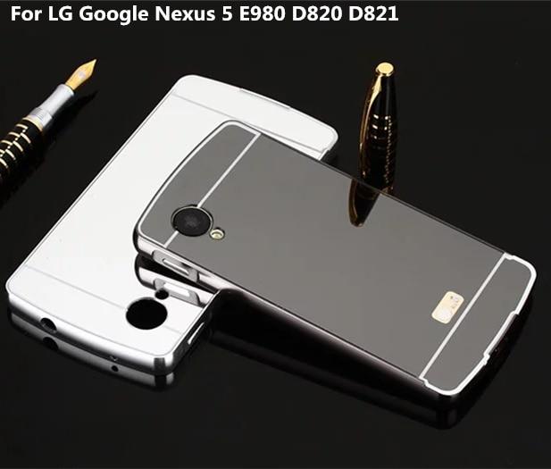 reputable site b628e 2ce94 For LG Google Nexus 5 E980 D820 D821 Case Luxury Metal Frame+Mirror Acrylic  Case On For LG Nexus 5 Phone Back Case Cap