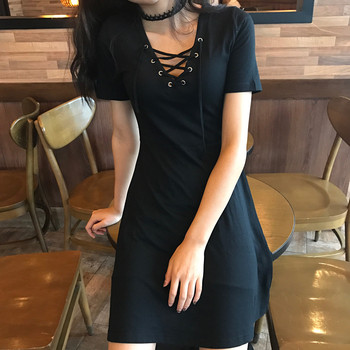 Gothic Bandage Women'S Vintage Dress Short Sleeve V-Neck Mini Slim Dresses Harajuku 1