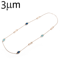 3UM Love Infinity Necklace Mix Color Oval Glass Birthstone Gems Bezel Necklace Chain Maxi Long Necklace
