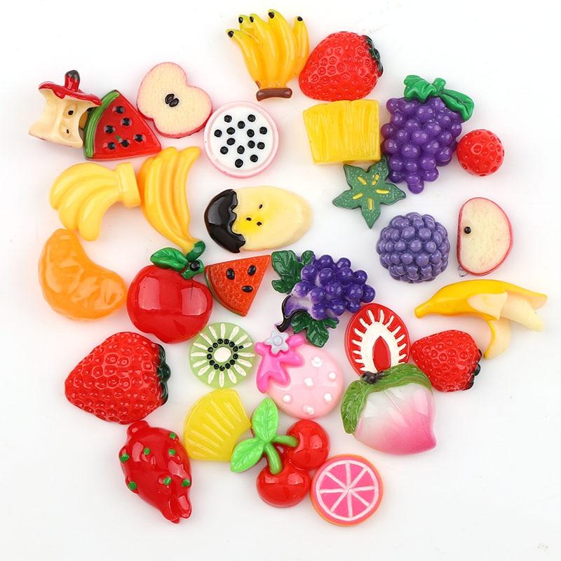 30PC Kawaii Flat Back Banana Cherry StrawDIY Miniature Artificial Mix Fruit  ResinCabochon Decorative Craft Play DollHouse Toy