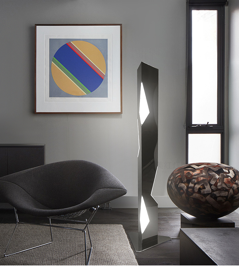 Post modern living room vertical floor lamp stainless steel geometric cutting creative personality club bedside LED lights