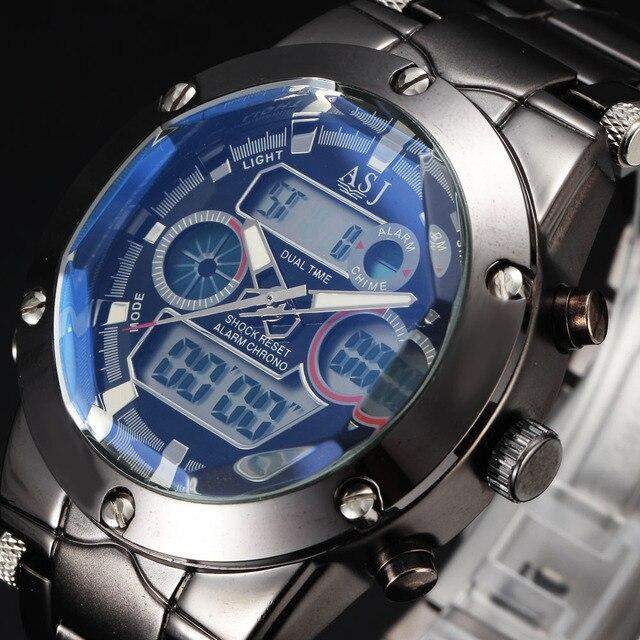 Luxury Brand Steel Clock Green LED Light Digital Watch Men Cool Army Relogio Masculino Casual Mens Watches Men Top Luxury Brand
