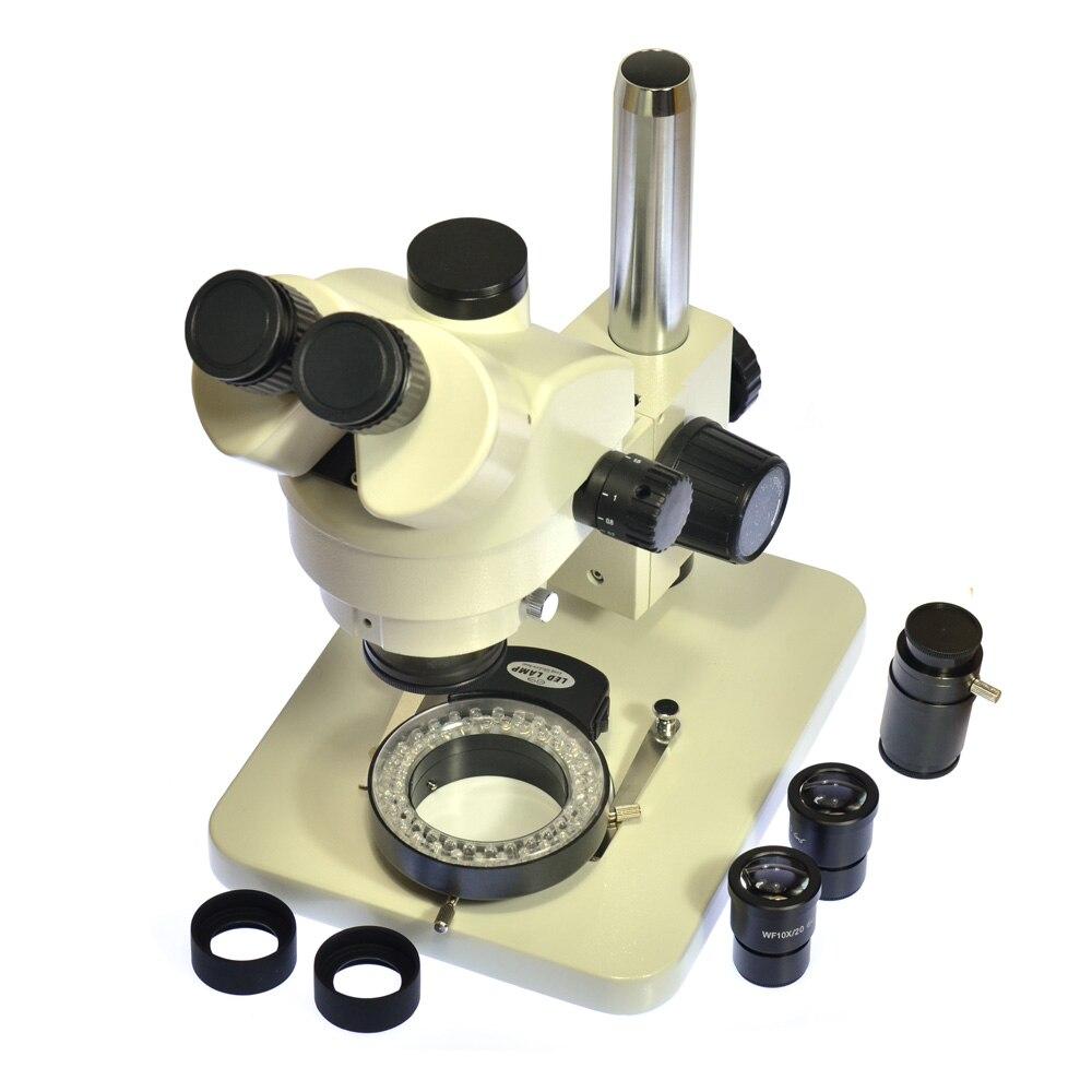 Осмотр зум 7X-45X тринокуляр стерео микроскоп тринокулярный визуальный + светодио дный 56 светодиодный свет + WF10X20 окуляр + C адаптер для лаборат...
