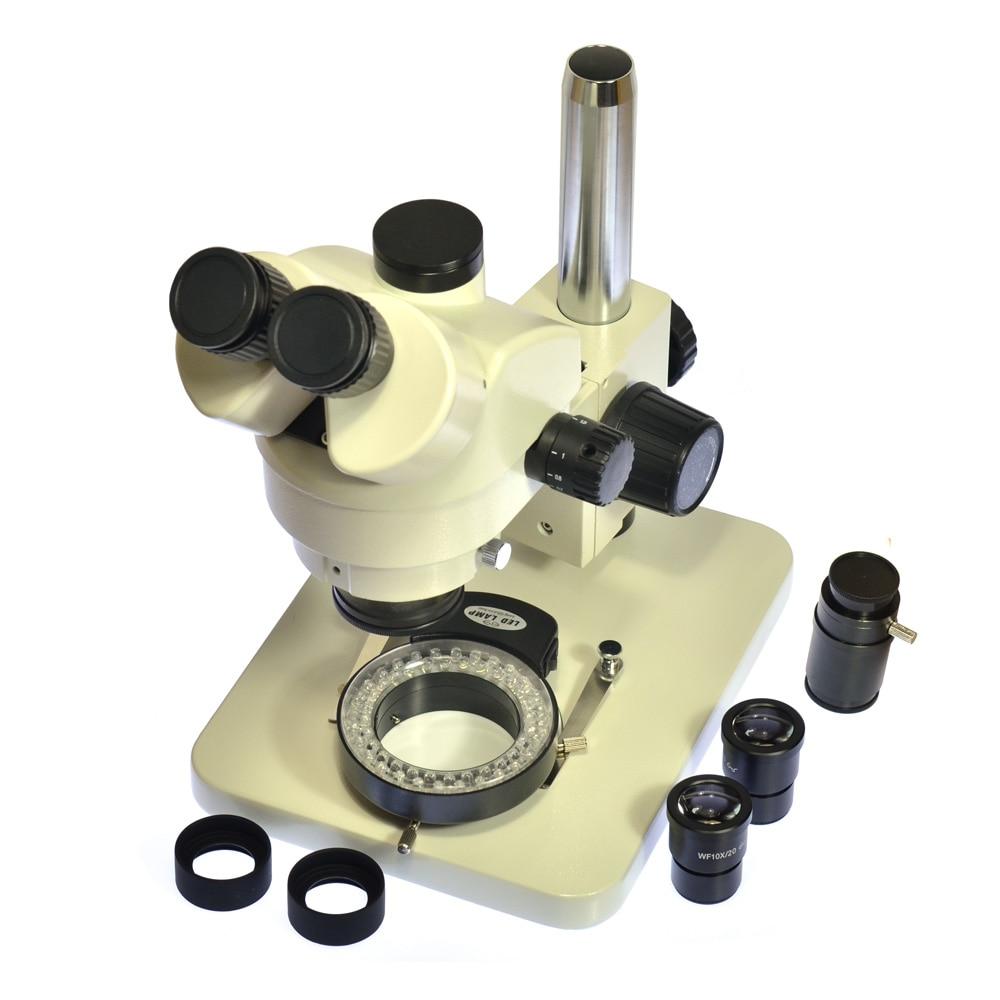 Inspection Zoom 7X-45X Trinocular Stereo Microscope Trinocular Visual + 56 LED Light + WF10X20 Eyepiece + C Adapter for LAB PCB