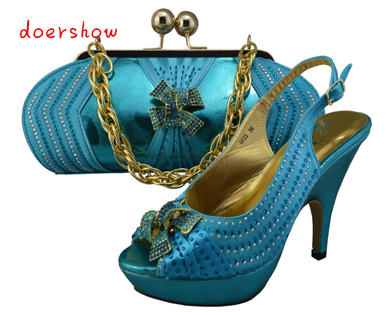 doershow women's shoes and bags set fashion African Italian design shoe and matching bags fashion pattern sexy party pumps!ZX1-6