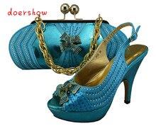 Doershow женская обувь и сумки в комплекте, модная в африканском стиле итальянский дизайн обуви и Сумочки в комплекте модные узор пикантные вечерние туфли-лодочки! ZX1-6