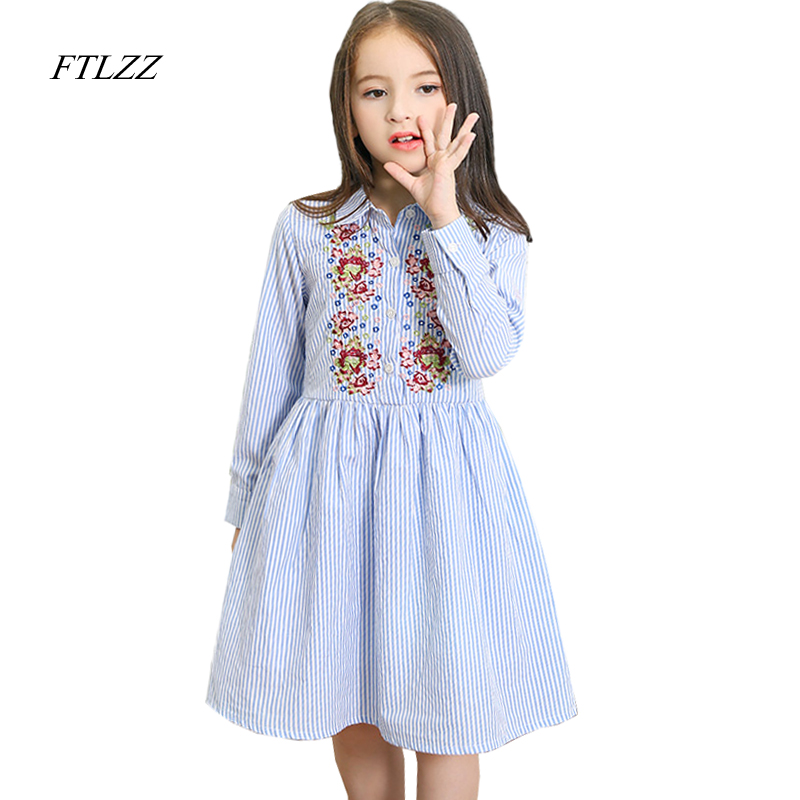 Baby Girl Dress 2018 New Spring Summer Flower Embroidery Dresses Long Sleeve Female Shirt Dresses Party Child Girl Dress toddler girl dresses chinese new year lace embroidery flowers long sleeve baby girl clothes a line red dress for party spring