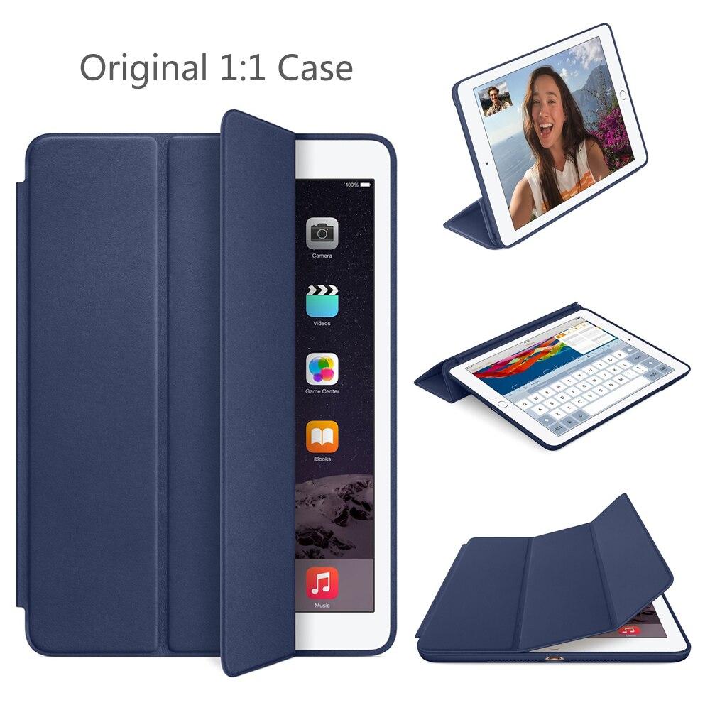 Funda Original para iPad air 2 9,7 pulgadas cubierta 1:1 imán Smart Auto Sleep Stand Flip Funda de cuero A1566 A1567 shell
