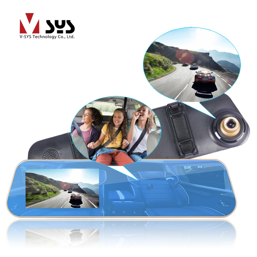 SYS Dual Cameras Rearview Mirror DVR Front 2K 1296P 720P Interior Cabin Security Camera Dash Cam
