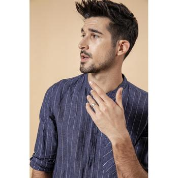 Casual Linen Striped Three Quarter Sleeve Shirt 1