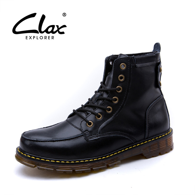 CLAX Men Casual Boots 2017 Autumn Winter Leather Shoes High Top Male Retro Motorcycle Boot Cow Split Ankle Martin Boots 2016 autumn and winter fashion high top shoes male pointed toe leather casual shoes men s ankle boots