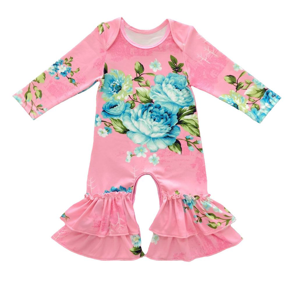 39c32c1312e Boutique Infant Toddler Clothing Baby Icing Ruffled Leg Rompers Twins  floral Ruffled Romper long sleeve floral sisters gowns-in Rompers from  Mother   Kids ...