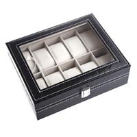 Watch Display Case Jewelry Collection Storage Organizer PU Box 10 Grid