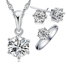JEXXI 925 Sterling Silver Bridal Jewelry Sets For Women Accessory Cubic Zircon Crystal Necklace Rings Stud Earrings Set Gift