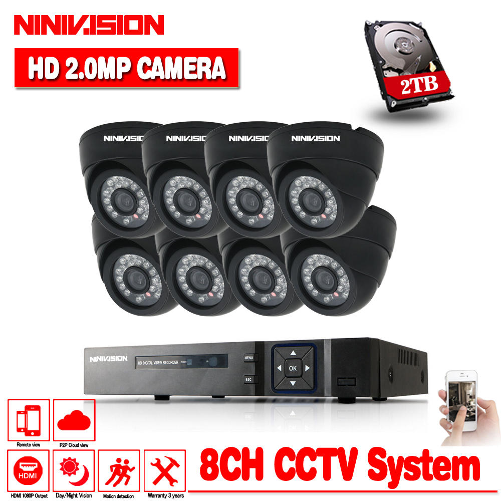 8CH AHD CCTV System HD 1080P 2.0MP CCTV Security Camera 8pcs indoor Black Dome Day/Night IR Surveillance Camaras System kits