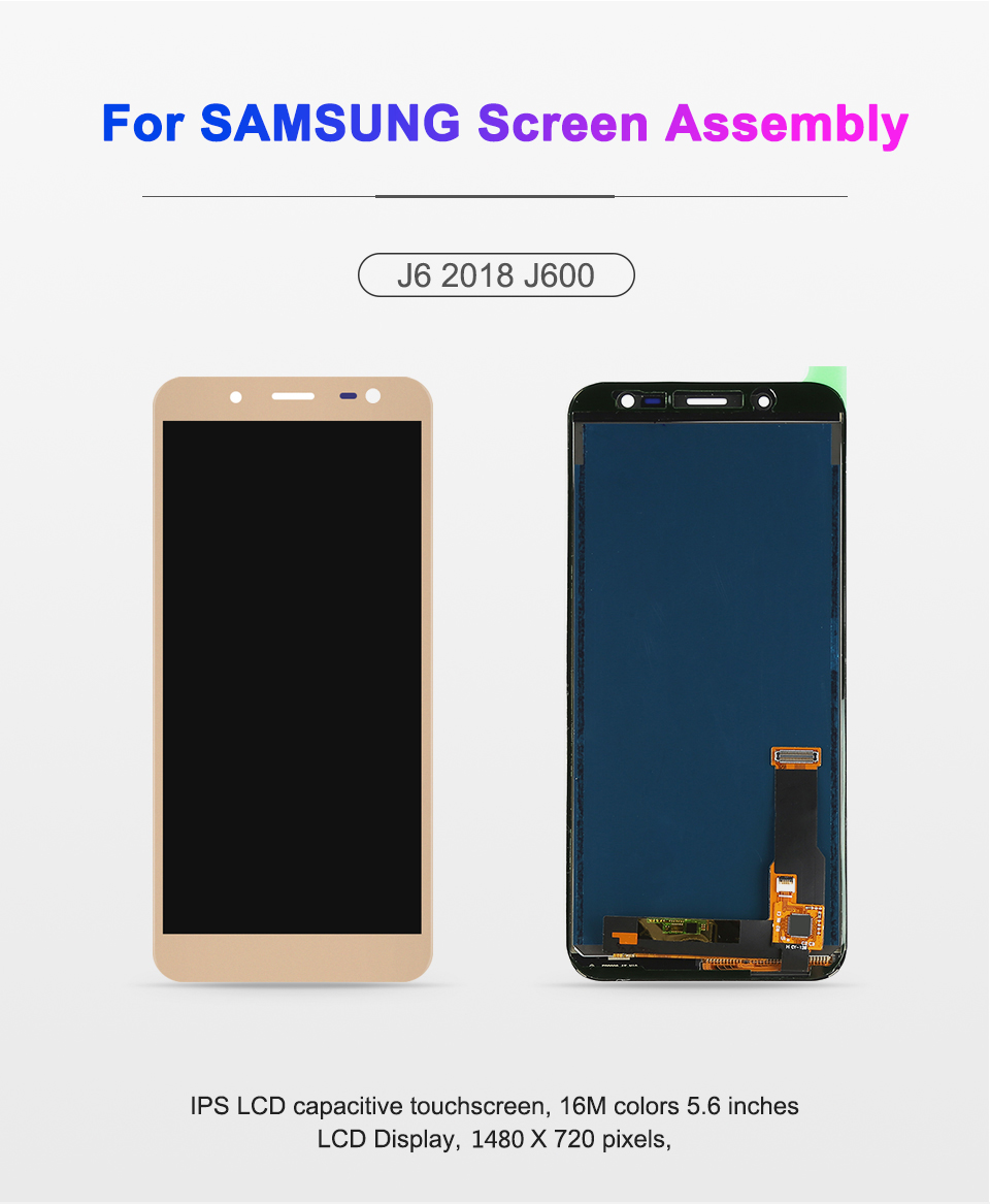 5.6 inch For Samsung Galaxy J6 2018 J600 J600F J600Y LCD screen Display and touch Glass pannel Assembly Can adjust brightness