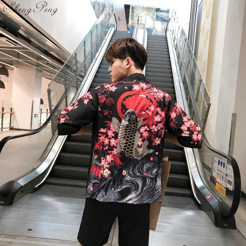 Japanese Kimono Men Cardigan Shirt Blouse Yukata Men Haori Obi Clothes Samurai Clothing Male Kimono Cardigan Q640