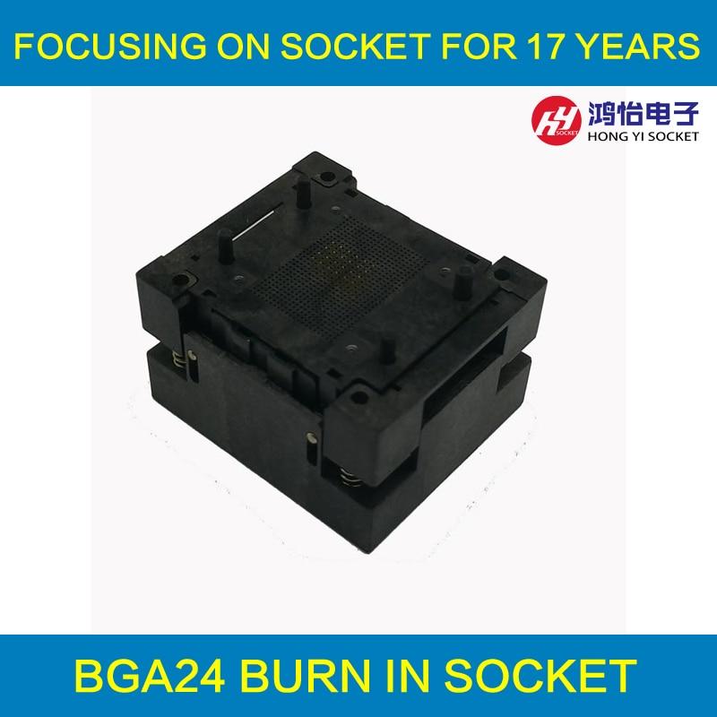 BGA24-1.0 OPEN TOP Burn in socket pin pitch 1.0mm IC size 6*8mm Pin Grid 5*5mm 4*6mm BGA24(6*8)-1.0 BGA24 VFBGA24 burn in socket bga24 to dip8 ic adapter socket for 8x6mm body width bga chips