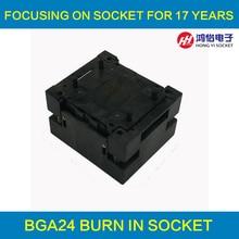 BGA24-1.0 OPEN TOP Burn in socket pin pitch 1.0mm IC size 6*8mm Pin Grid 5*5mm 4*6mm BGA24(6*8)-1.0 BGA24 VFBGA24 burn in socket qfn44 mlf44 wlcsp44 to dip44 double board programming socket ic550 0444 010 g pitch 0 5mm ic size 7x7mm adapter smt test socket