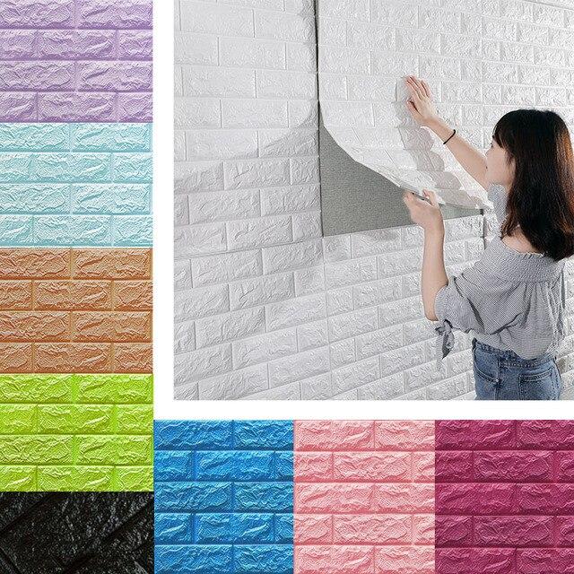 3D наклейки на стену имитация кирпича Спальня Декор водостойкие самоклеящиеся обои для гостиной у телевизора на кухне фон Декор