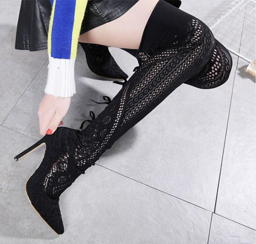 Nuevas Del Hechas Rodilla Punta Botas Sólido Otoño Moda Sobre Dedo Negro  Alto Zapatos Pie De Sexy A Mujeres La Tacón En Primavera ... 648c70befa5f