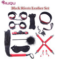Black Rivets fetish 10 pieces bondage kit set bdsm bondage sex collar nipple clamps adult games toys for couples sex products