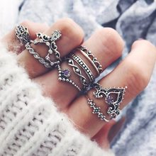 10 Pcs/set Women Fashion Fatima Gem Crown Water Drops Vintage Crystal Opal Knuckle Rings Lady Party Jewellery Gifts(China)
