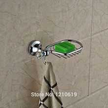 Newly Crystal Bathroom Soap Dish Holder w/ Hanger Chrome Finish Toilet Soap Rack Soap Basket Wall Mount