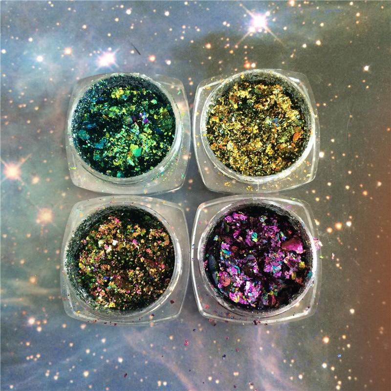 Queen's Beauty House Hot Sale! 1 box Chameleon Flakes Magic Effect Flakes Multi Chrome Nail Powder Glitter Sequins Nail Art Gel Nail Polish Manicure