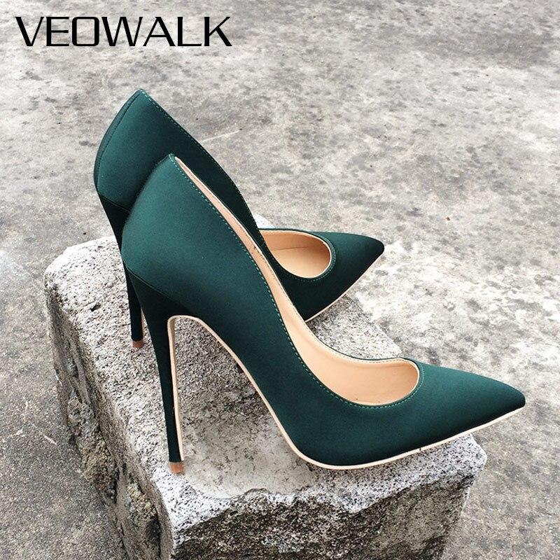 Veowalk marque soie supérieure femmes Sexy talons hauts élégant dame bout pointu parti pompes femme confort robe chaussures personnalisé accepter