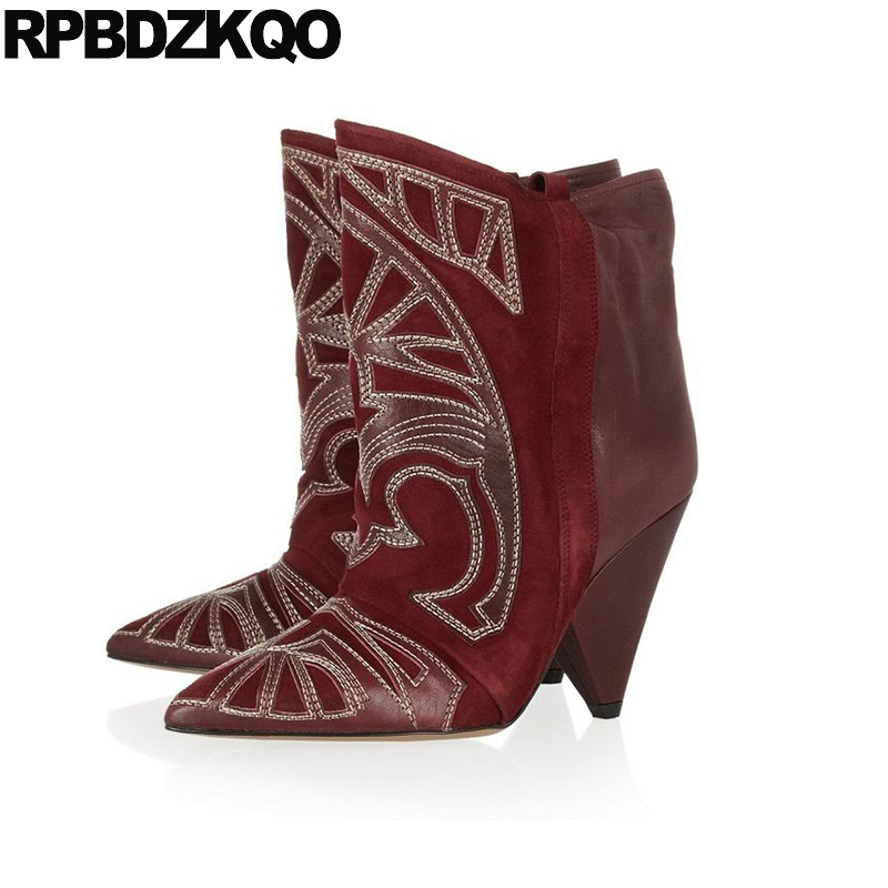 0406005ad41 Detail Feedback Questions about Cowgirl Pointed Toe Ankle Wine Red Western  Boots Cowboy Women Big Size Chunky High Heel Shoes Embroidery Handmade ...