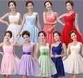 Coral Colorido Vestidos de Dama de honra Chiffon Curto de Um Ombro Vestido da Dama de Cor Pêssego Blush Rosa Da Dama de Honra Vestido de 9 Cores